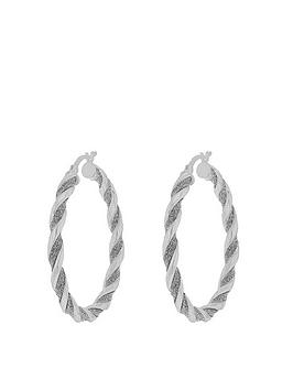 the-love-silver-collection-sterling-silver-stardust-glitter-twist-creole-hoop-earrings