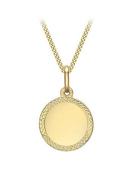 Love GOLD Love Gold 9Ct Gold Disc Pendant Necklace With Diamond Cut Edge Picture