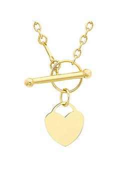 Love GOLD Love Gold 9Ct Gold Heart T Bar Necklace Picture