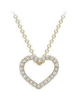 Love GOLD Love Gold 9Ct Gold Cubic Zirconia Heart Slider Pendant Necklace Picture