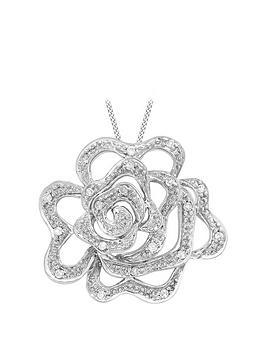 Love DIAMOND Love Diamond 9Ct White Gold Diamond Rose Pendant Necklace Picture