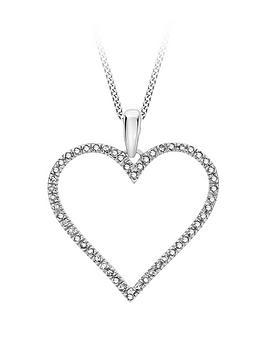 Love DIAMOND Love Diamond 9Ct White Gold Diamond Set Open Heart Pendant  ... Picture