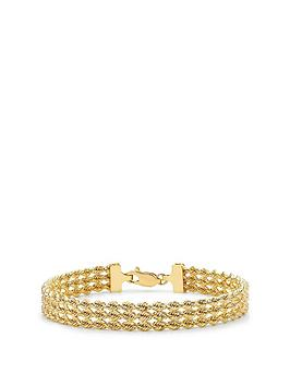 Love GOLD Love Gold 9Ct Gold Triple Layer Rope Chain Bracelet Picture