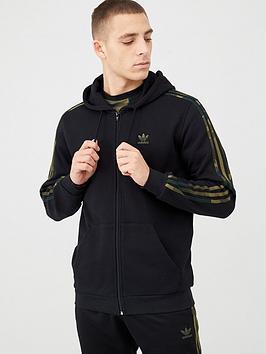 adidas Originals  Adidas Originals Camo 3 Stripe Full Zip Hoodie - Black
