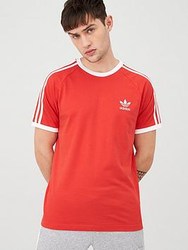 adidas Originals Adidas Originals 3 Stripe California T-Shirt - Red Picture
