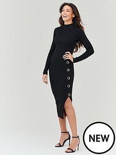 michelle-keegan-high-neck-knitted-bodycon-dress-black