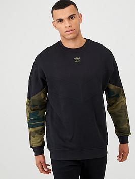 adidas Originals  Adidas Originals Camo Crew Neck Sweat - Black