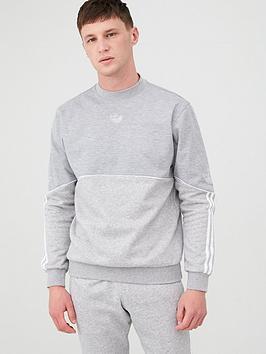 adidas Originals  Adidas Originals Outline Crew Neck Sweat - Medium Grey Heather