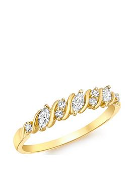 Love GOLD Love Gold 9Ct Gold Cubic Zirconia 7 Stone Swirl Ring Picture