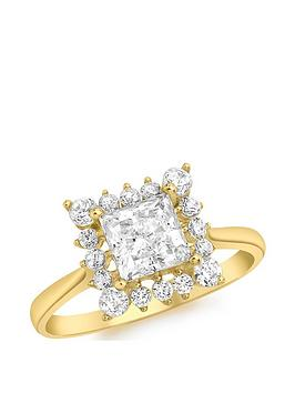 Love GOLD Love Gold 9Ct Gold Cubic Zirconia Square Halo Solitaire Ring Picture