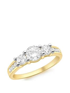 Love GOLD Love Gold 9Ct Gold Cubic Zirconia Trilogy Ring With Channel Set  ... Picture