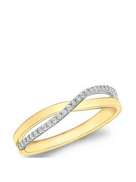 Love GOLD Love Gold 9Ct Gold Cubic Zirconia Crossover Ring Picture