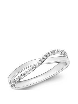 Love GOLD Love Gold 9Ct White Gold Cubic Zirconia Crossover Ring Picture