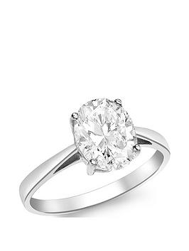 Love GOLD Love Gold 9Ct White Gold Cubic Zirconia Oval Solitaire Ring Picture