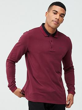HUGO Hugo Donol 201 Long Sleeved Polo Shirt - Burgundy Picture