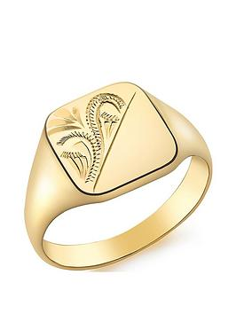 Love GOLD Love Gold 9Ct Gold Square Engraved Signet Ring Picture