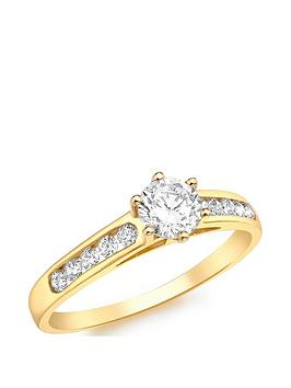 Love GOLD Love Gold 9Ct Gold Cubic Zirconia Solitaire Ring With Set  ... Picture