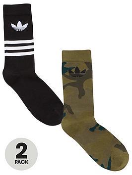 adidas Originals  Adidas Originals Camo Crew 2 Pack Socks - Black/Camo