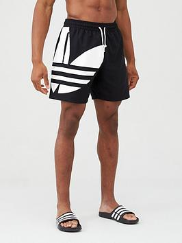 adidas Originals  Adidas Originals Big Trefoil Swim Shorts - Black