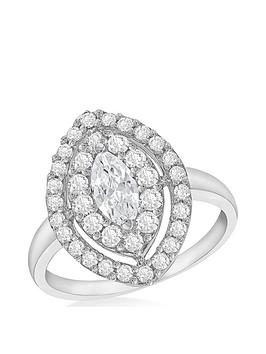 The Love Silver Collection Sterling Silver Cubic Zirconia Marquise Halo Dress Ring
