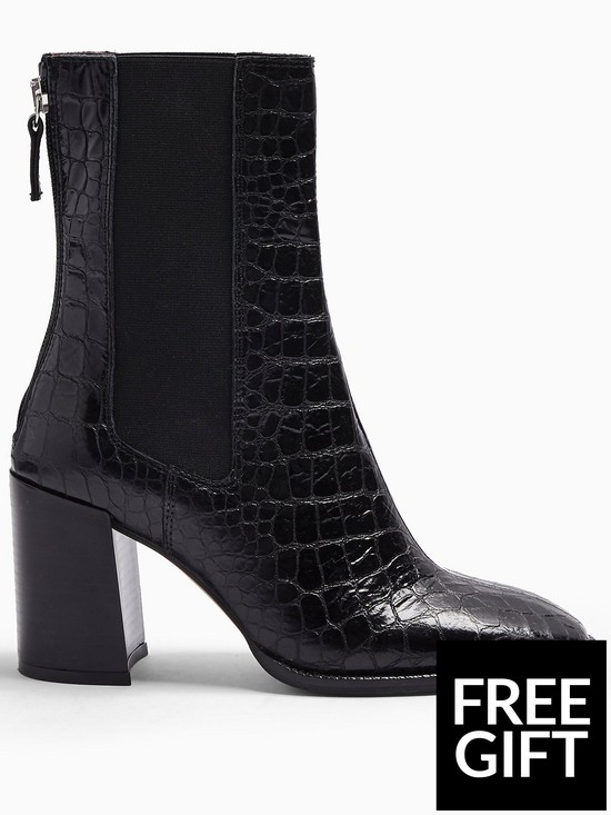 Topshop Huntington Croc Leather Calf Boots   Black by Topshop
