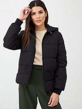 V by Very V By Very Short Rib Panel Padded Jacket With Hood - Black Picture