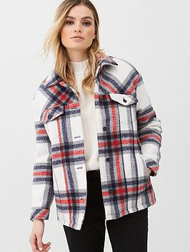 V by Very V By Very Check Jacket With Quilted Lining - Red/Check Picture