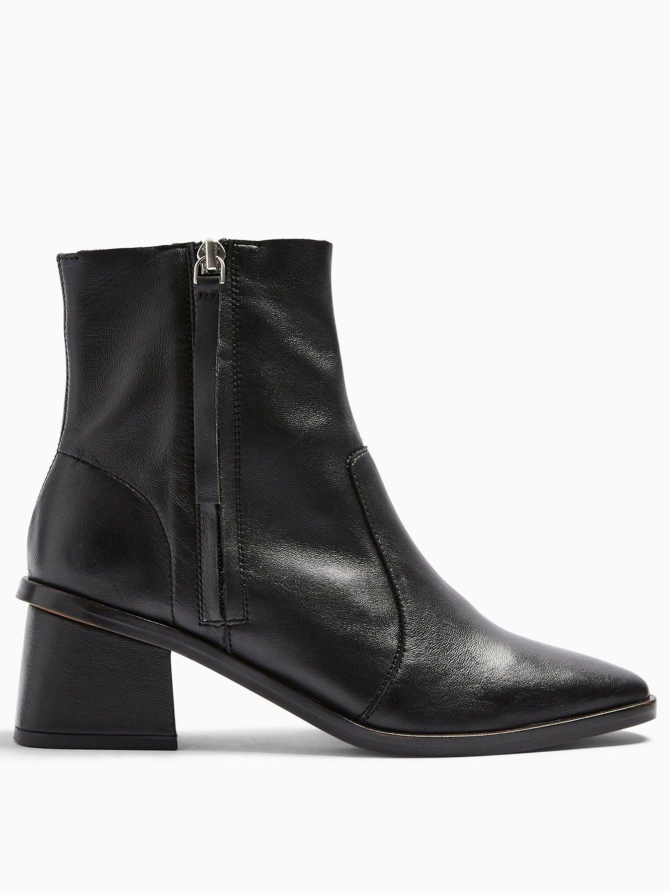 Topshop Margot Side Zip Leather Ankle