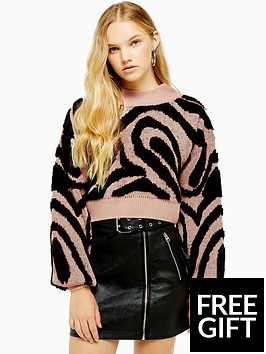 topshop-topshop-wave-print-balloon-sleeved-knitted-jumper-pink