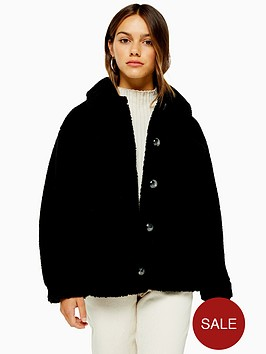 topshop-petite-reading-borg-short-jacket-black