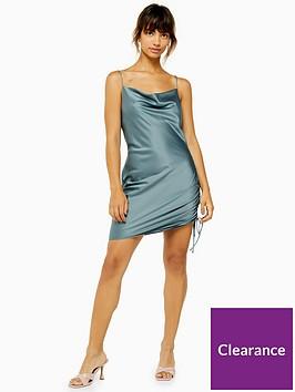 topshop-tall-satin-mini-slipnbspdress--teal