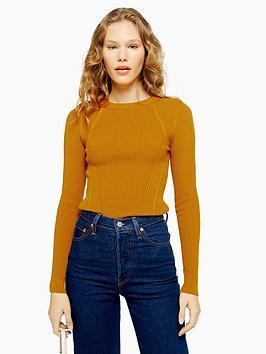 topshop-crew-neck-knitted-jumper-mustard