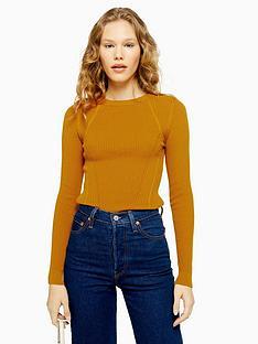 topshop-topshop-crew-neck-knitted-jumper-mustard