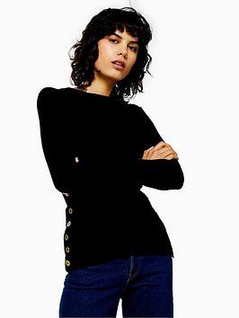 topshop-button-side-detail-knitted-jumper-black