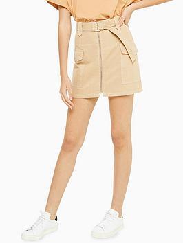 topshop-utility-tonal-popper-skirt-sand