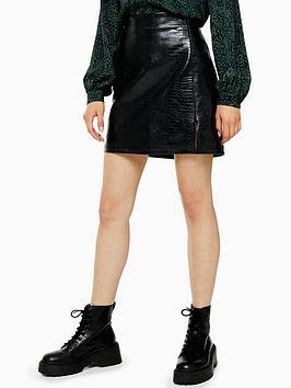 topshop-faux-croc-pu-mini-skirt-black