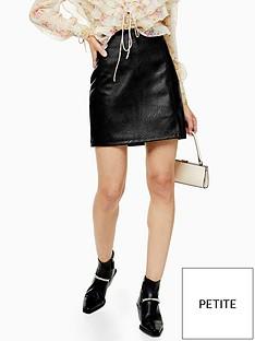 topshop-topshop-petite-split-front-pu-mini-skirt-black