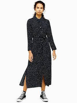 topshop-spot-print-open-back-shirt-dress-monochrome