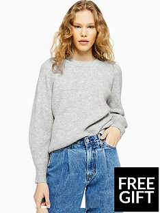 topshop-topshop-knitted-relaxed-fit-jumper-grey