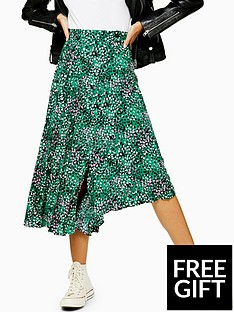 topshop-topshop-tall-spot-print-pleated-midi-skirt-green