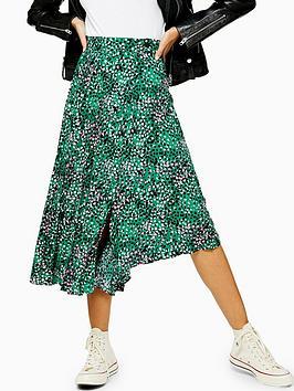 Topshop Topshop Tall Spot Print Pleated Midi Skirt - Green Picture