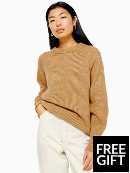 topshop-topshop-knitted-relaxed-fit-jumper-camel