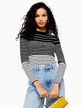 topshop-stripe-slim-stretch-knitted-jumper-blackwhite