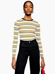 topshop-topshop-multi-stripe-slim-stretch-knitted-jumper