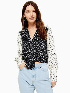 topshop-mixed-floral-print-tie-front-blouse-monochrome