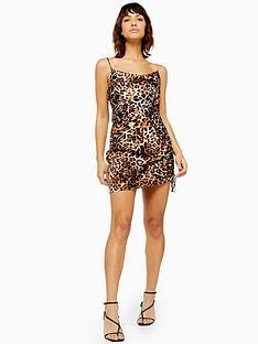 topshop-leopard-print-ruched-slip-dress-multi