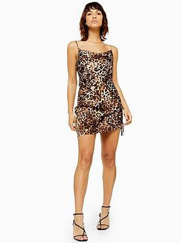 topshop-leopard-print-ruched-slip-dress-multi