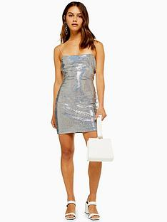 topshop-petite-holographic-bodycon-dress-silver
