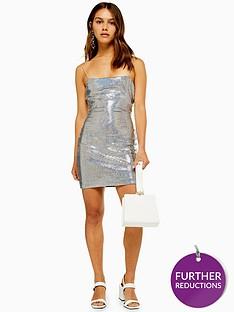 topshop-topshop-petite-holographic-bodycon-dress-silver