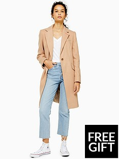 topshop-topshop-single-breasted-smart-coat-brown